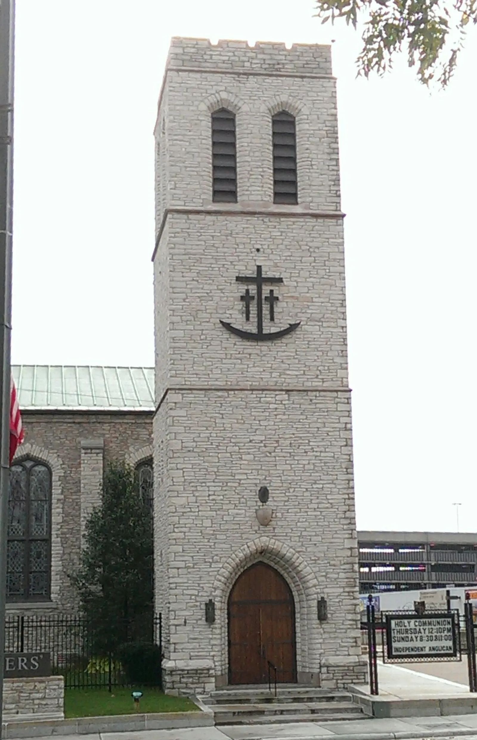 Photo of the bell tower of the old mariners' church, in Detroit, Michigan