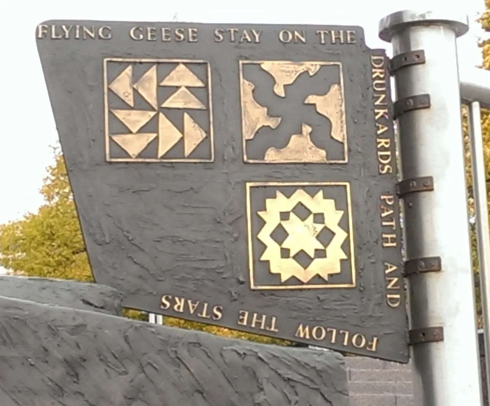 Photo of quilt code patterns from a statue in Detroit, Michigan