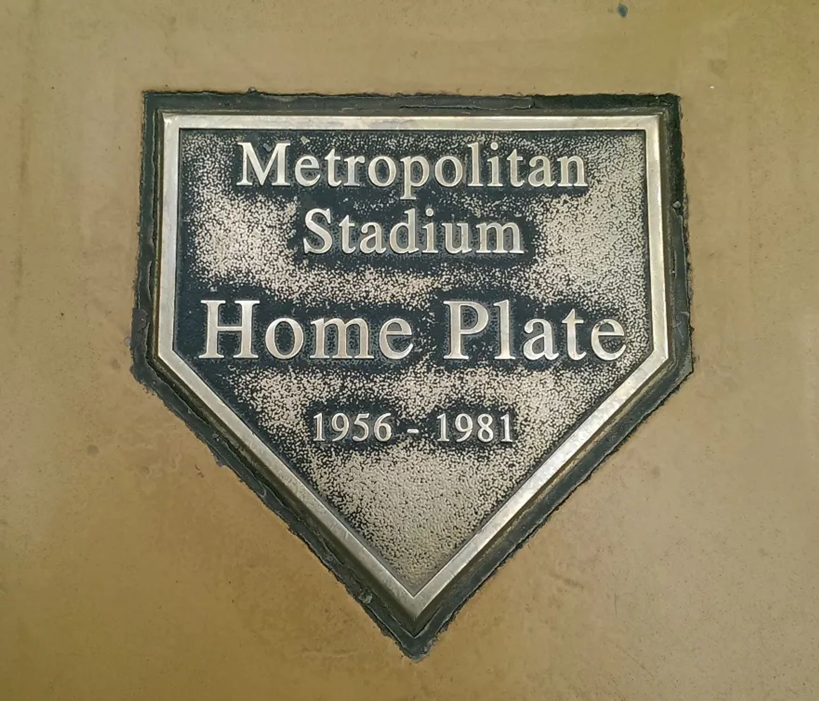 Photo of the old Metropolitan Stadium home plate, in Bloomington, Minnesota