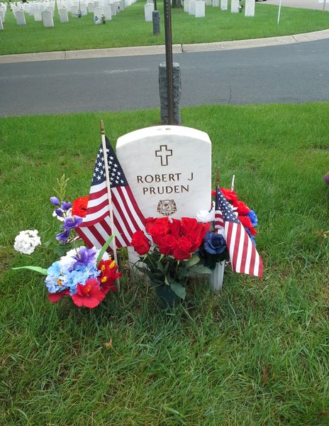 Photo of the grave marker for U.S. Army Ranger Staff Sergeant Robert J Pruden of St. Paul, Minnesota, posthumously awarded the Congressional Medal of Honor for conspicuous gallantry and intrepidity above and beyond the call of duty during the Vietnam War, in Fort Snelling National Cemetery.