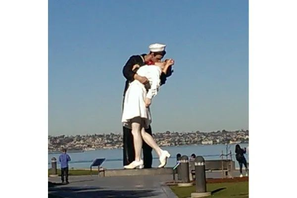 Photo of Statue of couple celebrating the end of World War II, in San Diego, California