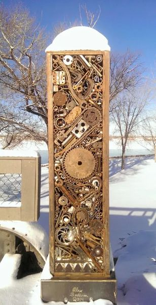 Photo of The metal art pillars on the east side of Weissman Memorial Bridge in Great Falls, Montana