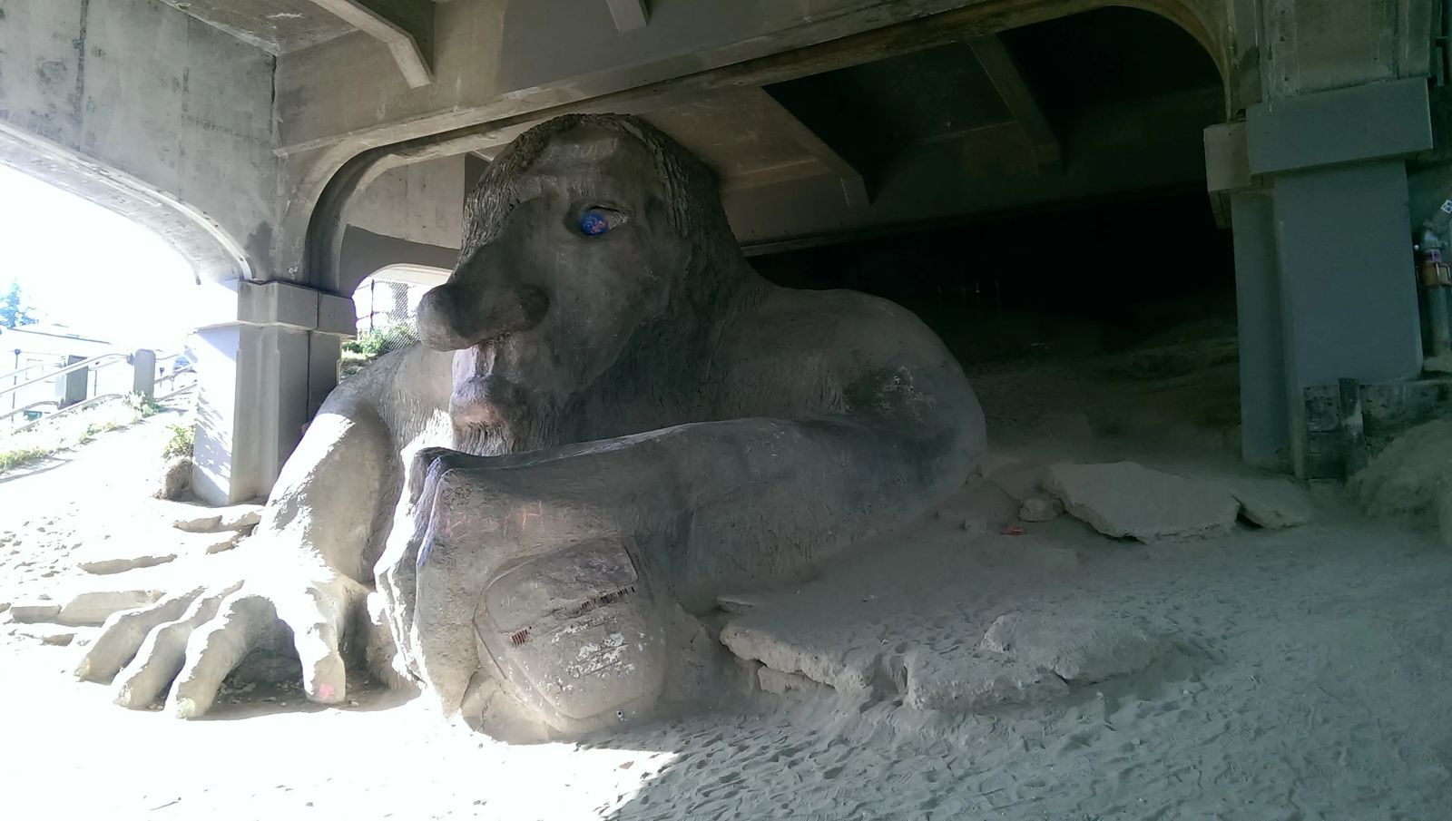 Photo of the Fremont Troll, in Seattle, Washington