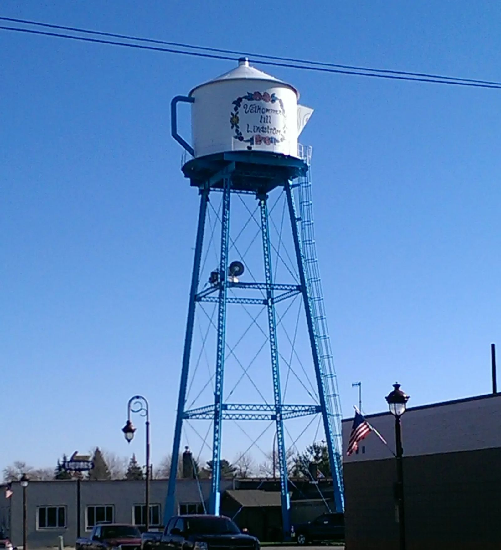 Photo of the Coffee Pot Welcome and Water Tower in Lindstrom, Minnesota