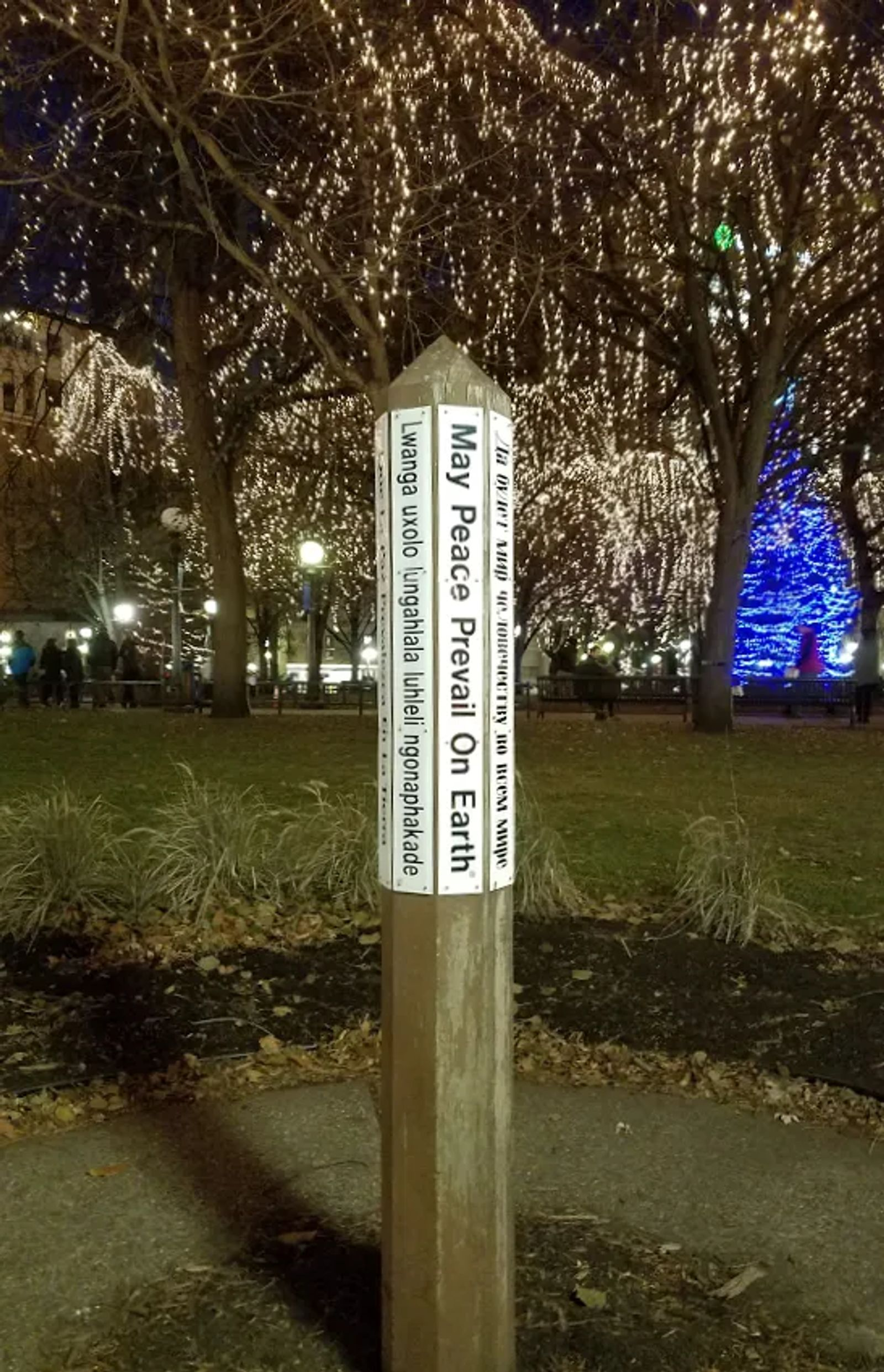 Photo of the Peace Pole in St. Paul, Minnesota