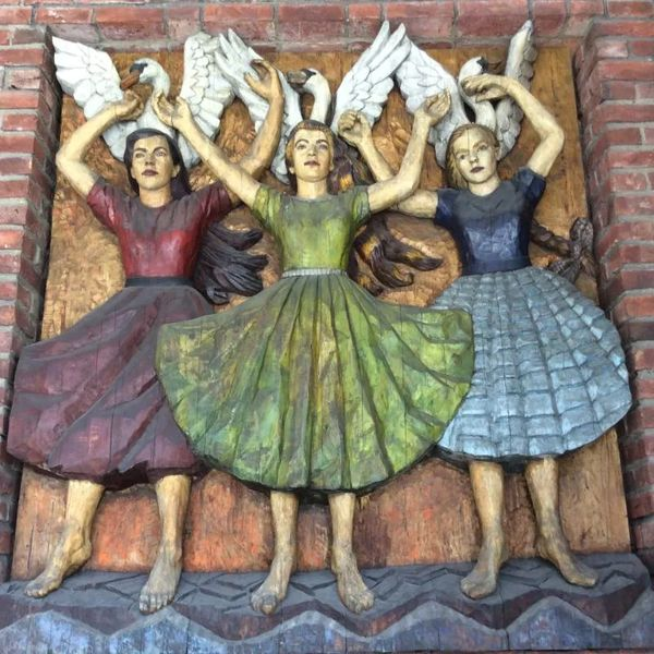 "Photo of Wood relief of ""Ride of the Valkyries"" by Dagfin Werenskiold, in Oslo, Norway"