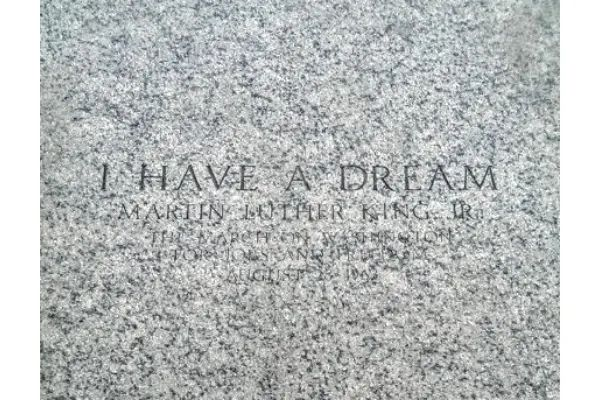 "The block inscribed with ""I Have A Dream"" at the Lincoln Memorial in Washington DC"