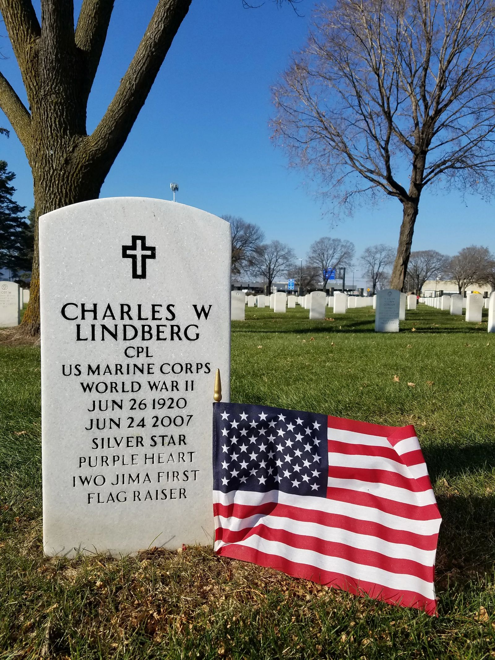 Photo of Charles Lindberg grave site, in Fort Snelling National Cemetery