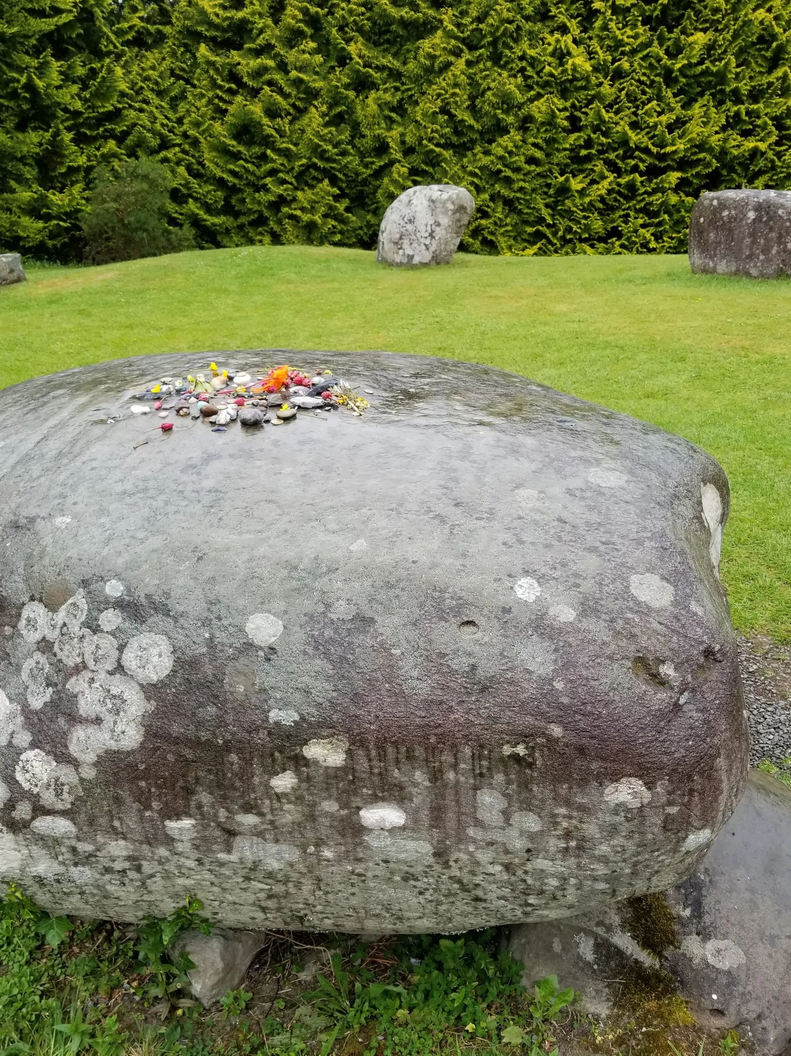 Photo of the central stone of the stone circle in Kenmare, Ireland.
