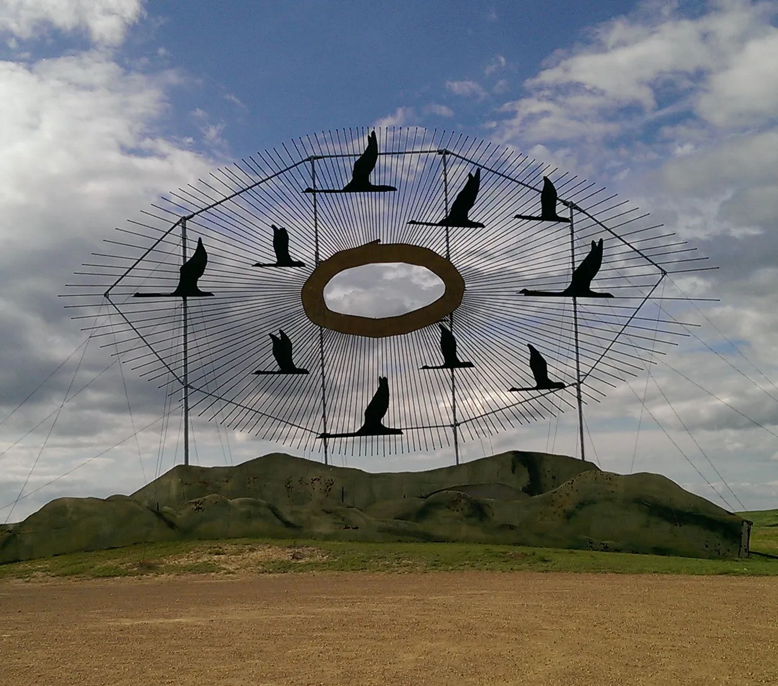 "Photo of ""Geese in Flight"" a sculpture by Gary Greff, in North Dakota"