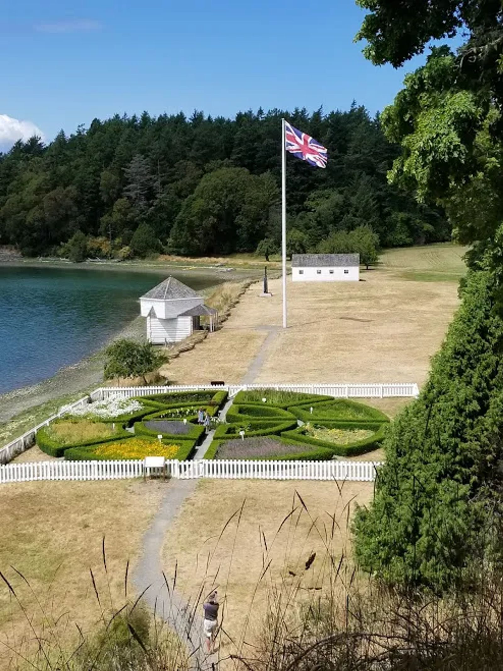 Photo of the British flag flying in a U.S. National Park, on San Juan Island, Washington