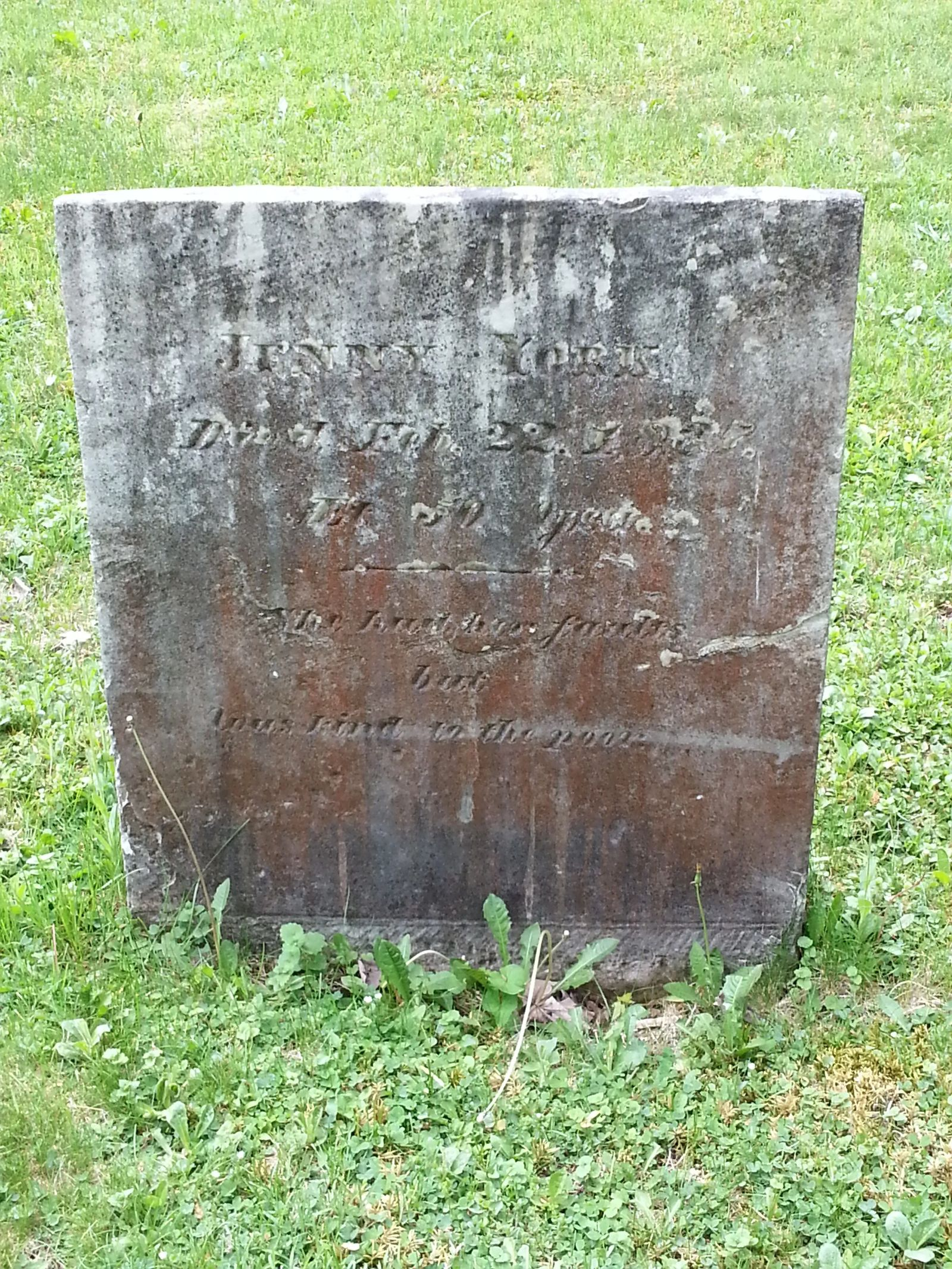 Photo of the grave sight of Jenny York in Cooperstown, New York